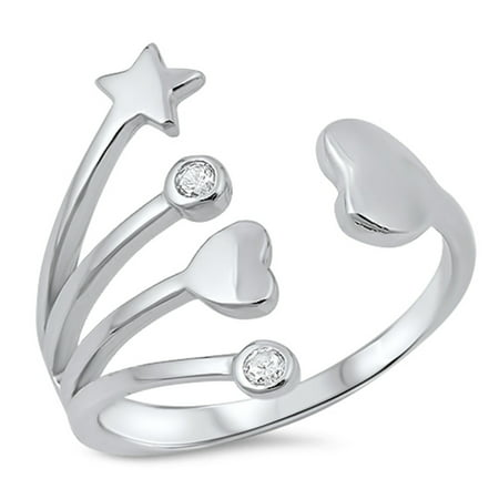 Sterling Silver Dots - Clear Cubic Zirconia Shooting Stars Hearts and Dots Ring Sterling Silver