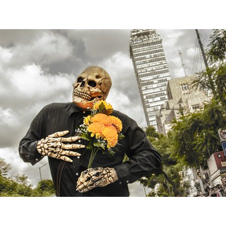 canvas print skull flowers costume mexico stretched canvas 10 x 14
