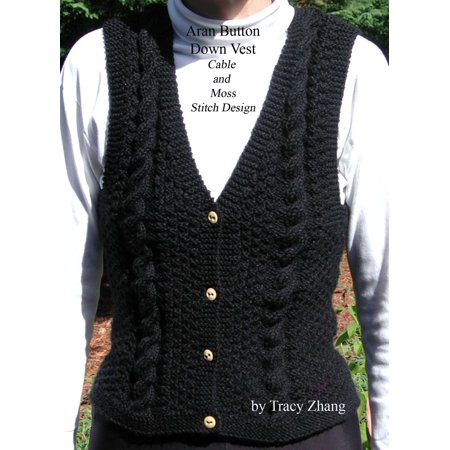Knitted Cable Patterns - Aran Button Down Vest Moss and Cable Stitch Design Knitting Pattern - eBook