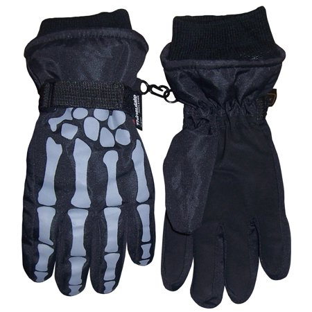 NICE CAPS Boys Skeleton Print Waterproof and Thinsulate Insulated Reflector Snow Winter Ski Skiing Glove - Fits Kids Toddler Youth Childrens Child Sizes For Cold Weather 3 Meter Thinsulate Gloves