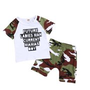 Infant Kid Baby Boy Tops Vest Shorts Camos Pants Outfit Clothes Set