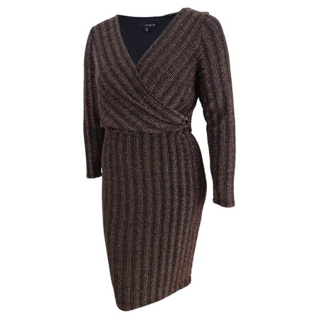 Sangria Women's Petite Faux-Wrap Metallic Dress (14P, Rose Gold)](Rose Sangria)