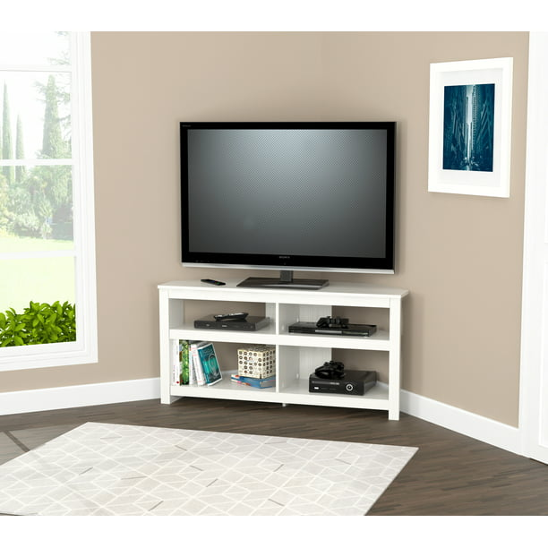 Inval Modern Laminate Corner TV Stand, Washed Oak