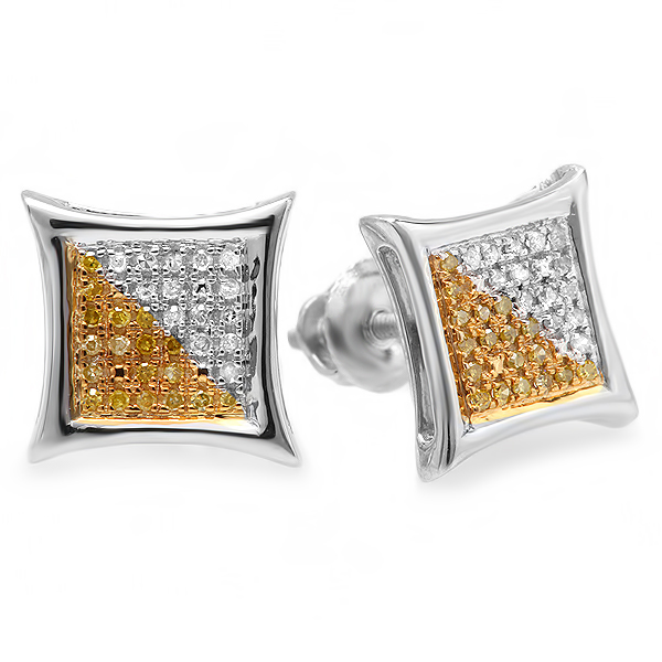 0.15 Carat (ctw) White & Yellow Round Diamond Micro Pave Setting Kite Shape Stud Earrings