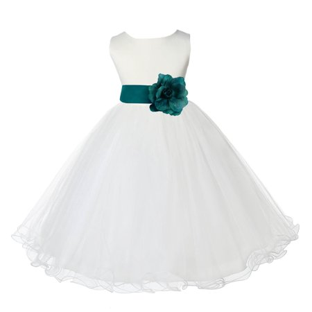 - Ekidsbridal Satin Ivory Oasis Tulle Rattail Edge Christmas Junior Bridesmaid Recital Easter Holiday Wedding Pageant Communion Princess Birthday Girl Clothing Baptism 829S size 2 Flower Girl Dress