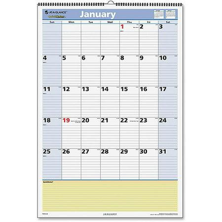 Quicknotes Horizontal Wall Calendar (At-A-Glance QuickNotes Monthly Wall Calendar )