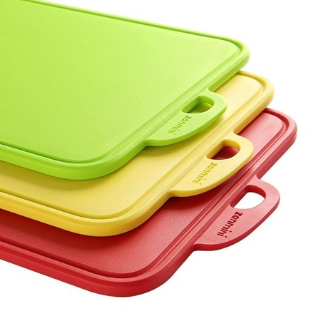 zanmini Color-Code Cutting Boards for Kitchen, Dishwasher-Safe Chopping Boards Set of 3, with Non-Slip Feet and Handing Hole Stand, BPA-Free, FDA Approved, Eco Friendly