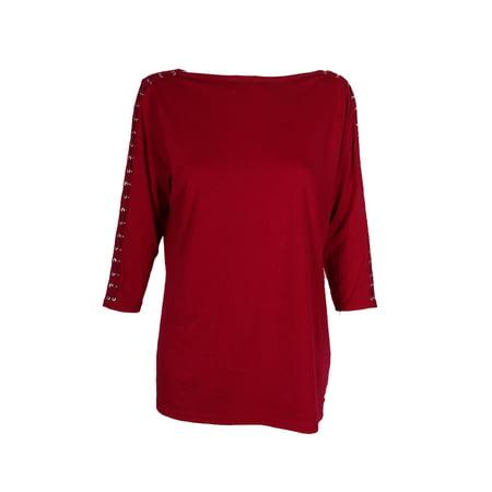 Lauren Ralph Lauren Plus Size Red Slim-Fit Lace-Up-Sleeve T-Shirt - Ralph Lauren Red Shirt