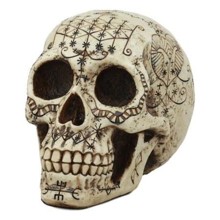 Ebros Erzulie Freda Veve Haitian Ancient Voodoo Love Spells Romance Talisman Tattoo Skull Statue Gothic Skull Lwas Voudou Loa of Love Day Of The Dead Skeleton Cranium Figurine ()