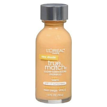L'Oreal True Match Super Blendable Make Up, Fresh Beige W4.5 - 1 Oz, Pack of 2