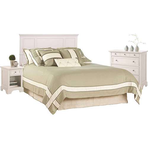 Home Styles Naples Queen Headboard, Nightstand and Chest, White