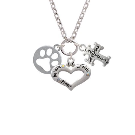 Cut Out Cross - Circle with Cut Out Paw Believe Faith Prayer Heart and Scroll Cross Zoe Necklace