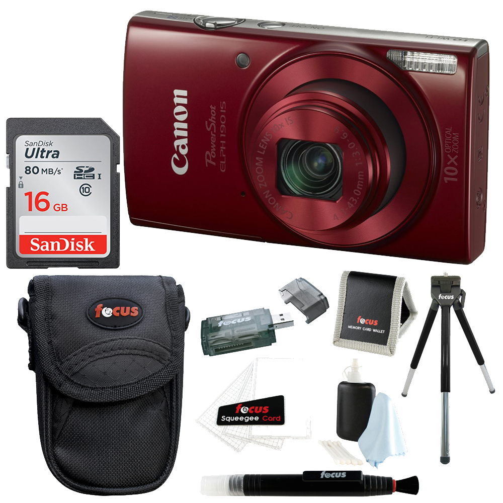 Canon PowerShot ELPH 180 Digital Camera (Red) with 16GB Accessory Bundle