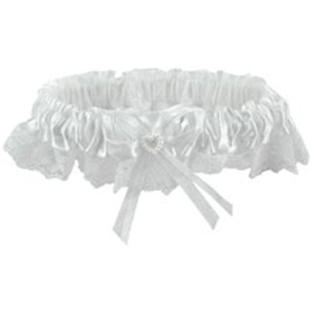 Lace Garter with Elastic - White