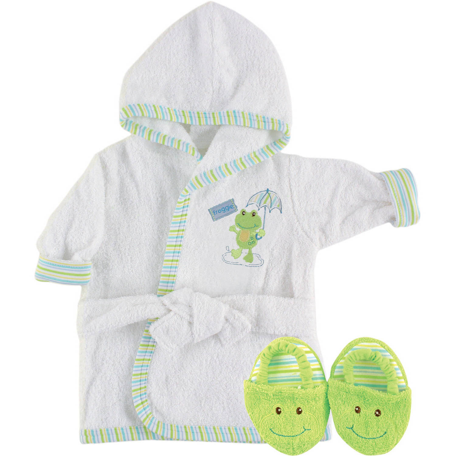 Luvable Friends Newborn Baby Neutral Unisex Bath Robe and Slippers Set, Size/Age 0-9 Months