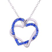 White Gold Double Heart Necklace with Simulated Diamond Trim