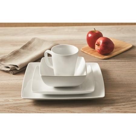 Better Homes & Gardens Porcelain Coupe Square Dinnerware Set, 16 Piece
