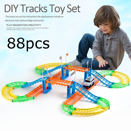 Two-Layers DIY Electric Rail Car Toy Racing Track for Kids electricrailcar Birthday Christmas Halloween Gift](Halloween Electric Chair Diy)