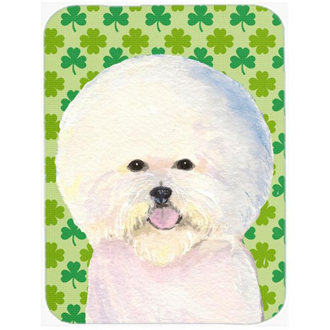 Carolines Treasures SS4457LCB 12 x 15 in. Bichon Frise St. Patricks Day Shamrock Portrait Glass Cutting Board, Large - image 1 de 1