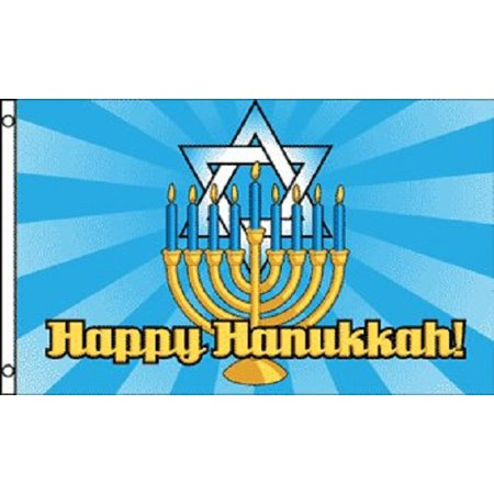 3x5 Happy Hanukkah Flag Jewish Holiday Decoration Banner Party Pennant - Happy Hanukkah Banner
