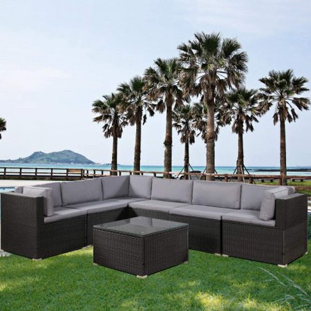 7-Piece Patio Furniture Set Outdoor Sectional Conversation Set with Soft Cushions Outdoor Balcony Sofa 3 Corner Chairs + 3 Middle Chairs + 1 Coffee Table (Black)