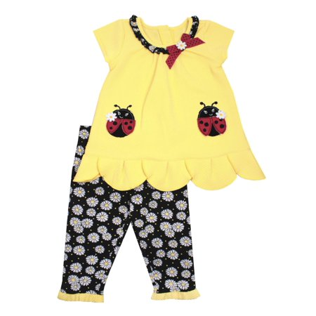 Ladybug Popcorn Knit Top & Capri Leggings, 2pc Outfit Set (Baby Girls & Toddler Girls)