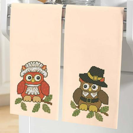 Pilgrim Owls Towel Pair Thread Kit - Pilgrim Crafts