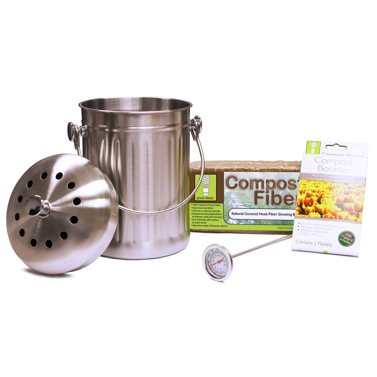 Compost Wizard Essentials Kit, Stainless Steel by Good Ideas, Inc.
