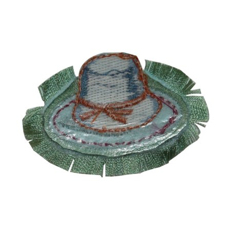 ID 7598 Frilly Sun Hat Patch Garden Fashion Shade Embroidered Iron On Applique