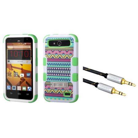 Insten Tuff Tribal Sun Dual Layer Case With Stand For Zte Speed   Green    3 5Mm Universal Audio Extension Cable