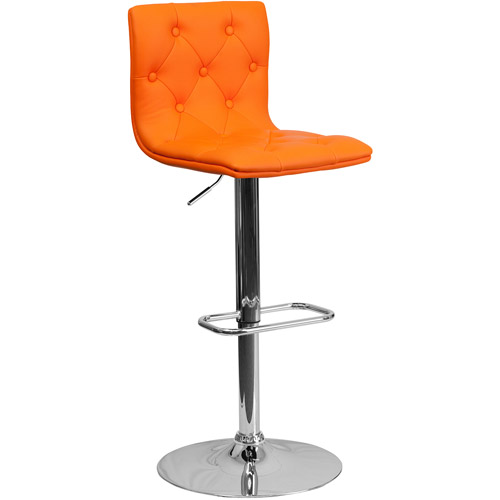 Contemporary Tufted Vinyl Adjustable Height Barstool with Chrome Base, Set of 2, Multiple Colors