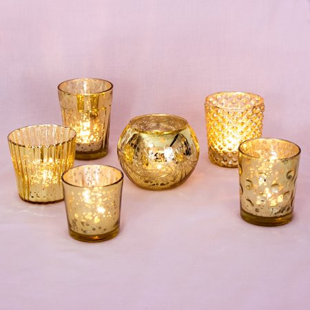 Best of Vintage Mercury Glass Candle Holders (Gold, Set of 6) - Mercury Glass Votive Holders