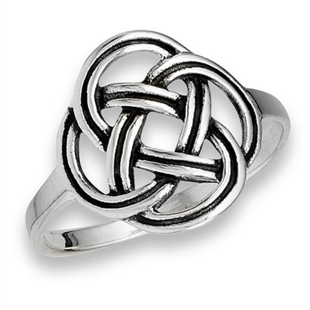Oxidized Endless Celtic Knot Weave Ring New .925 Sterling Silver Band Size 8 ()