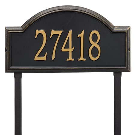 Personalized Whitehall Products Providence Arch Address Plaque in Black/Gold - 1 Line Lawn Address Plaque