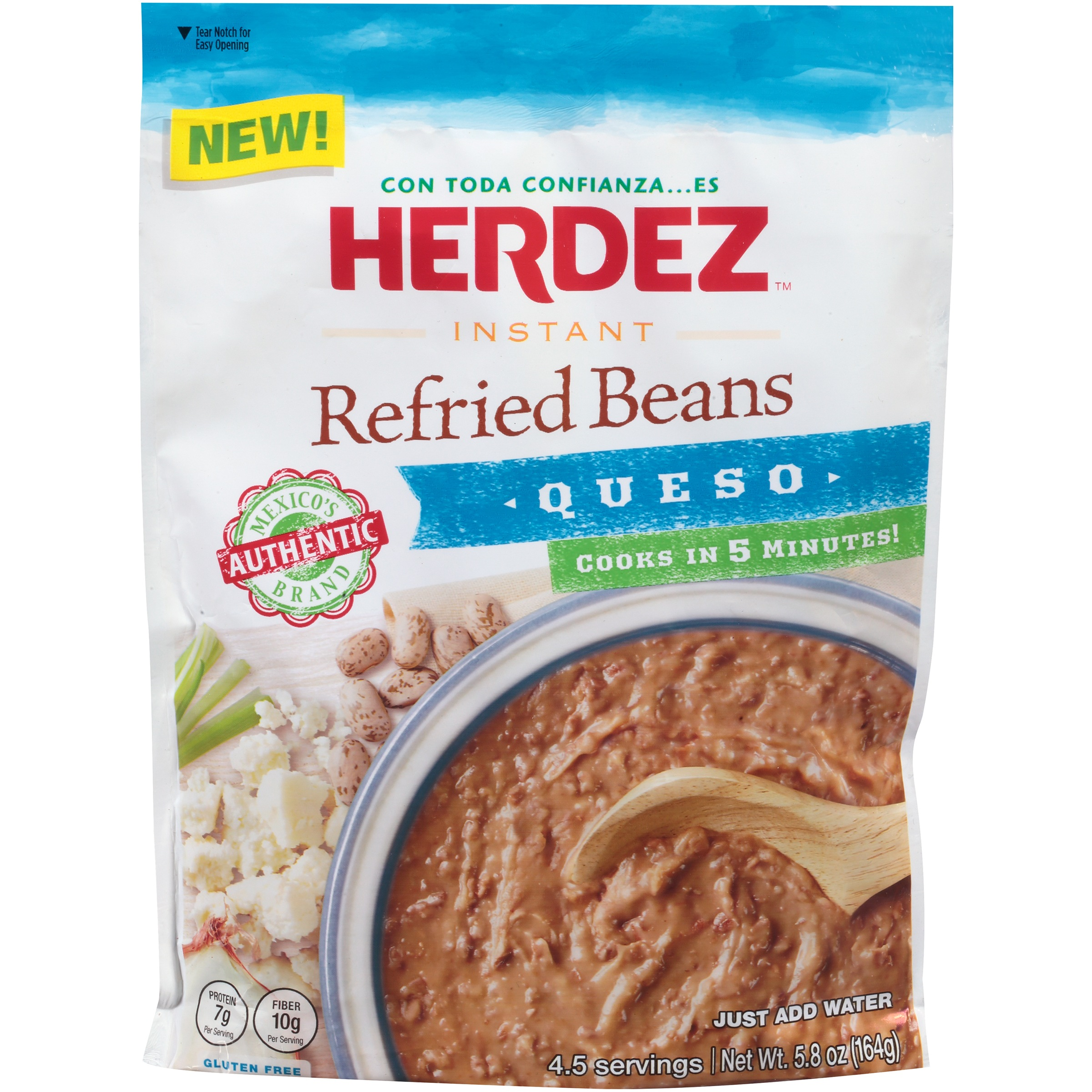 Herdez Instant Refried Beans Queso, 5.8 OZ