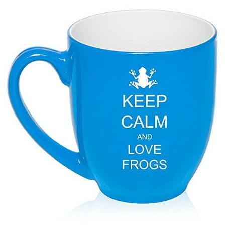16 oz Large Bistro Mug Ceramic Coffee Tea Glass Cup Keep Calm and Love Frogs (Light - Blue Glass Cups