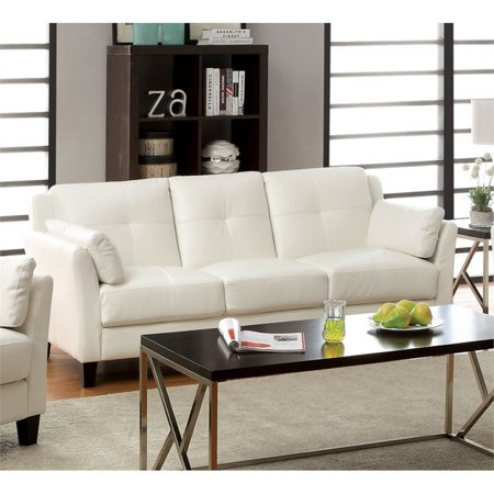 Furniture of America Tonia Leather Tufted Sofa in White ()