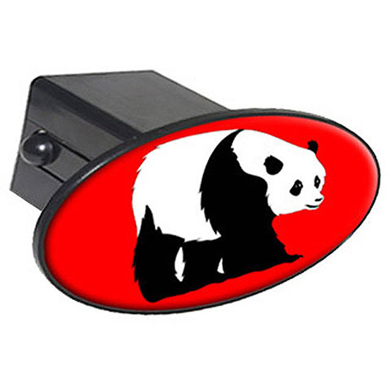 "Panda Bear On Red, Animal Zoo 2"" Oval Tow Trailer Hitch Cover Plug Insert"