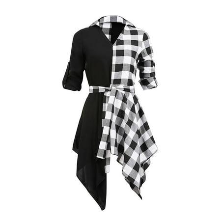 Women Casual Half Long Sleeve Shirt Dress V-Neck Irregular Hem Check Color Blocks Blouse - Dress Color Block