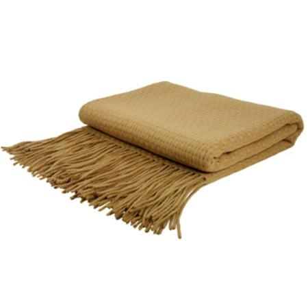 Indigo7 Authorized 50/50 Basketweave Cashmere Wool Blend Throw Camel
