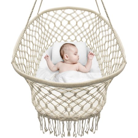 Sorbus? Baby Crib Cradle, Hanging Bassinet and Portable Swing for Baby Nursery, Macram? Rope Fringe (Off White)