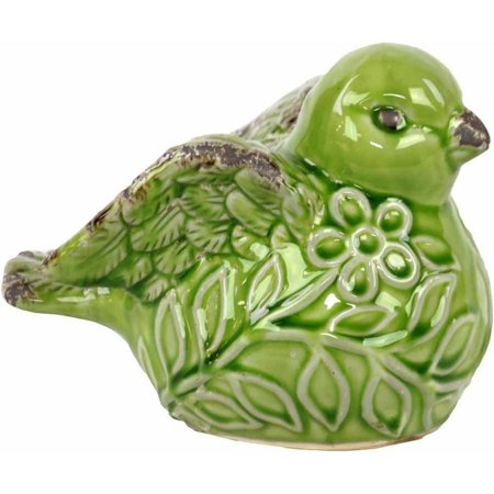 Urban Trends Collection: Ceramic Bird Figurine, Gloss Finish, Green](Ceramic Bird)