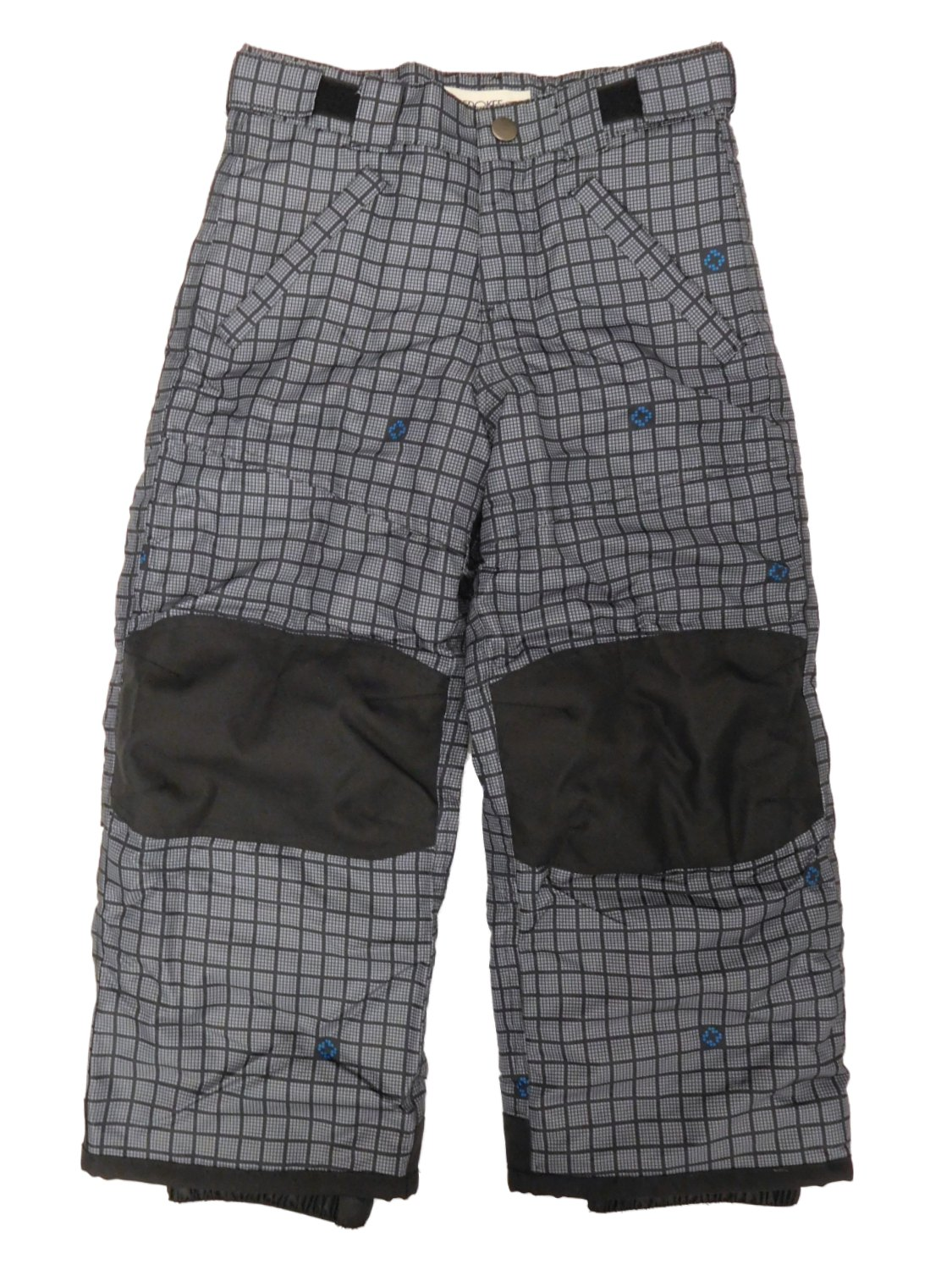 Boys Gray Plaid Water/Wind Resistant Adjustable Waist Reinforced Knee Snow Pants