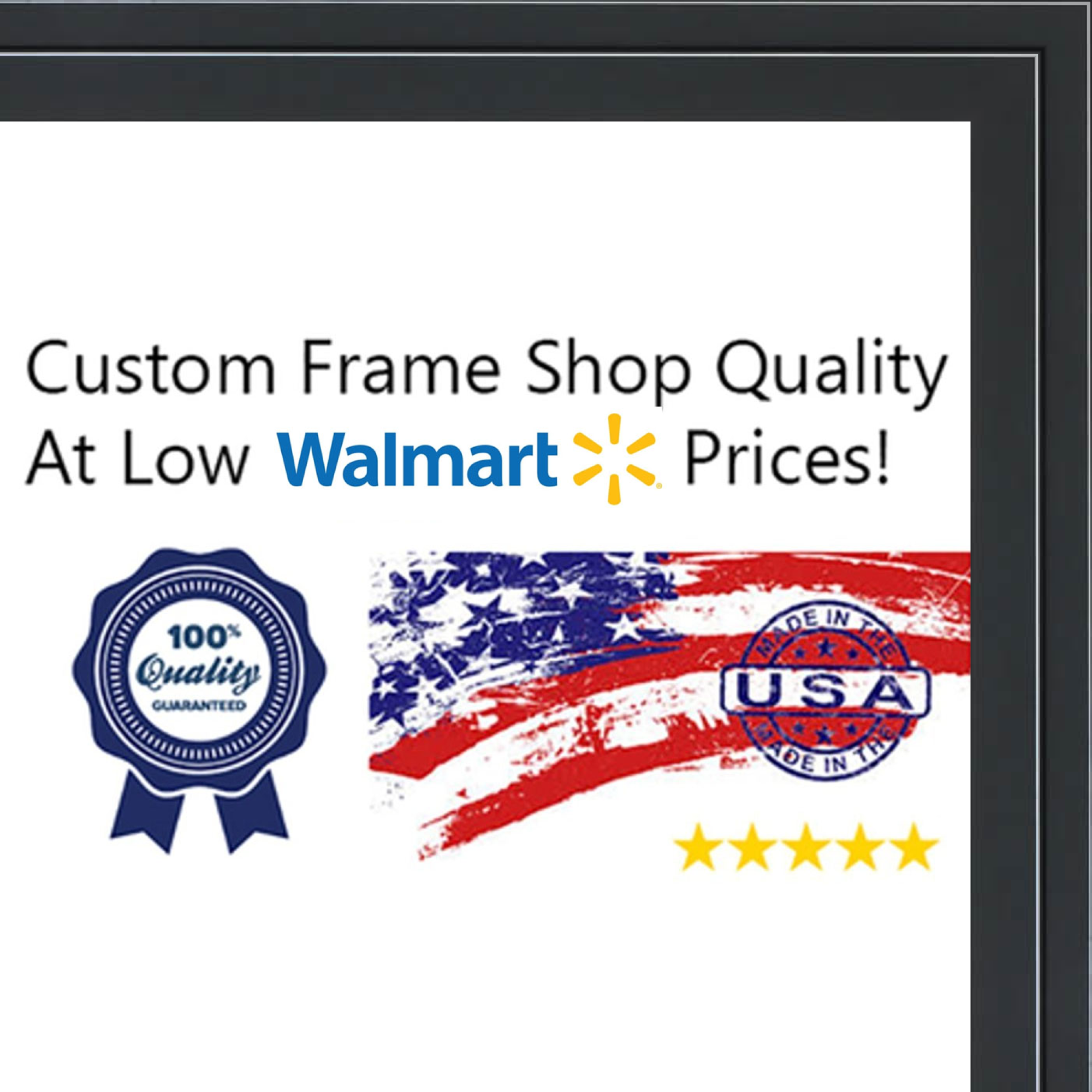 26x34 - 26 x 34 Black and Silver Pinstripe Solid Wood Frame with UV Framer's Acrylic & Foam Board Backing - Great F