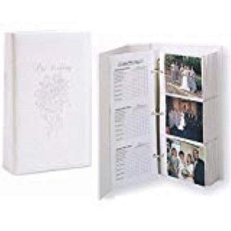 our wedding 3-ring pocket embossed white proof book for up to 300 4x6 photos -