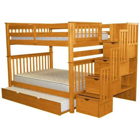Trundle Honey - Bedz King Stairway Bunk Beds Full over Full with 4 Drawers in the Steps and a Full Trundle, Honey