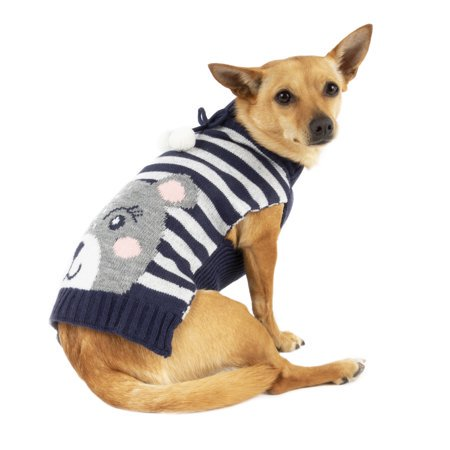 Simplydog Blue Striped Bear Pom Tassle Sweater for Dogs, Medium Collegiate Striped Dog Sweater