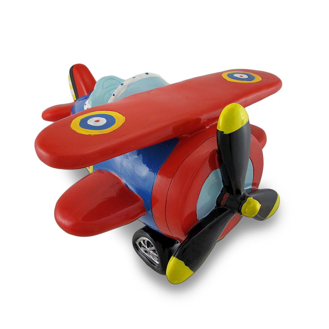 Red Blue Bi-Plane Large Piggy Bank Biplane by King Max