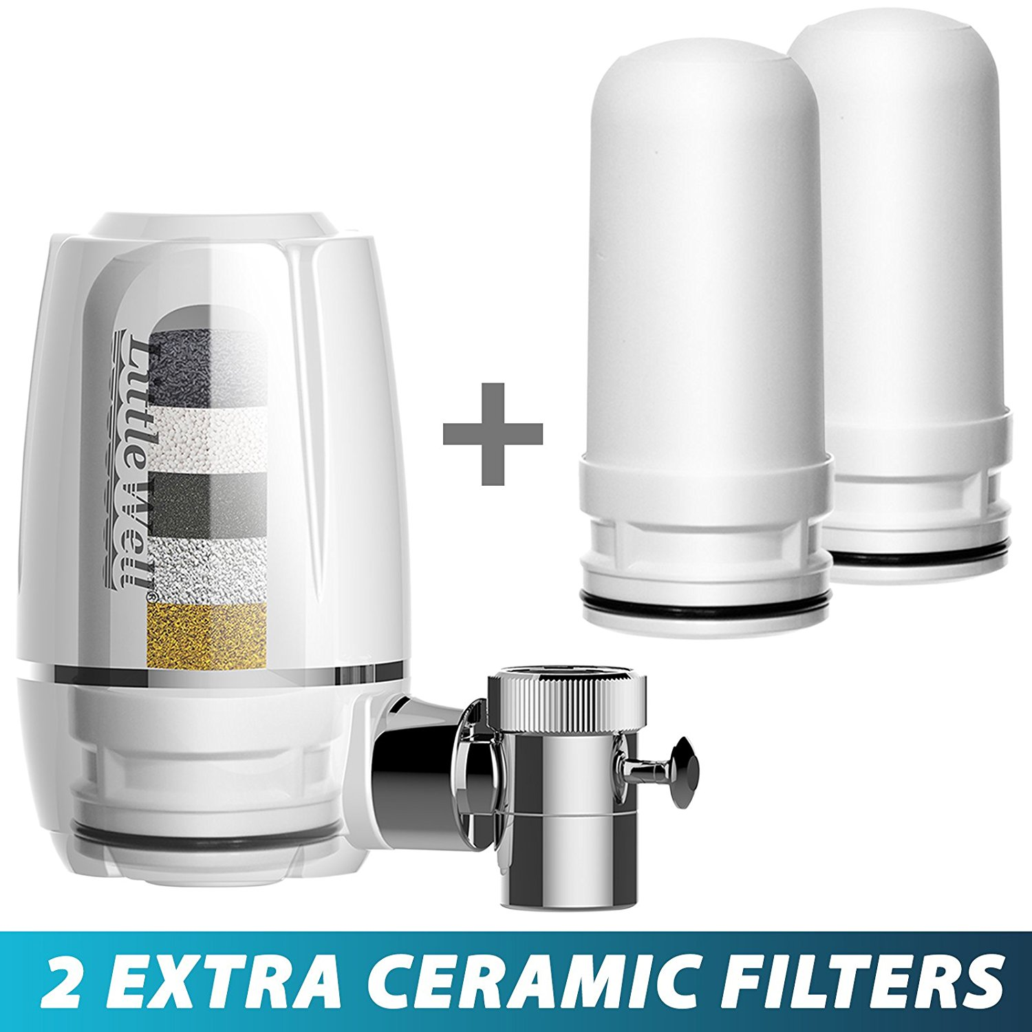 iSpring LittleWell Faucet Water Filter with Multi-Layer Filtration Media + 2 Ceramic Filters, #DFW1+DF-CERAMICX2