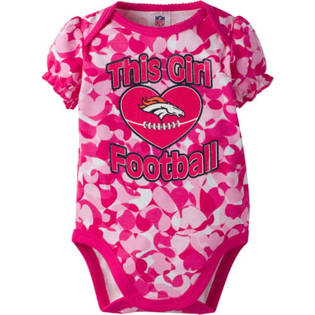 Pinks Denver (NFL Denver Broncos Baby Girls Short Sleeve Heart Camo)